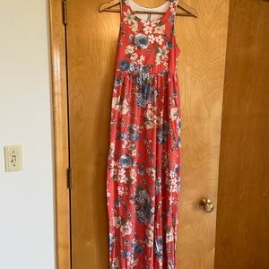 Floral Maxi Dress with pockets, racer back